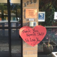 Kopernik essential worker support: thank you, we love you sign