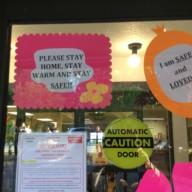 Kopernik essential worker support: we are safe and loved sign
